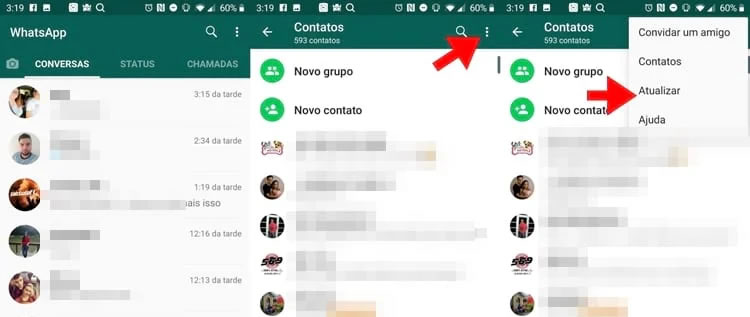 atualizar os contatos do WhatsApp